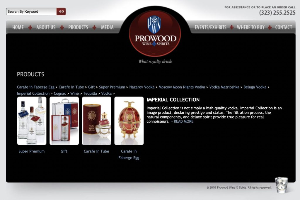 Prowood Imperial vodka site