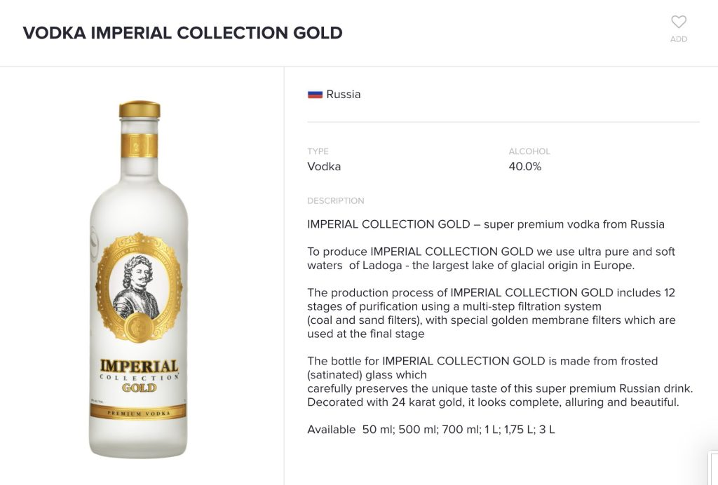 Imperial Collection Gold vodka page